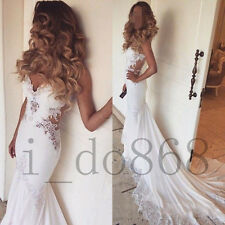 2016 Sexy Backless Beads Bridal Gowns Mermaid Wedding Dresses Custom Size 4 6 ++