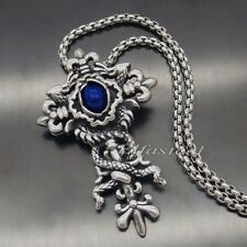 Men's Dragon Blue CZ Stone Cross 316L Stainless Steel Cross Pendant Necklace
