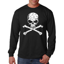 Distressed White Skull & Bones Motorcycle Biker Chopper Long Sleeve T-Shirt Tee