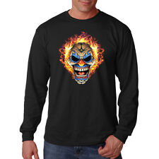 Scary Angry Clown Head On Fire Motorcycle Biker Chopper Long Sleeve T-Shirt Tee
