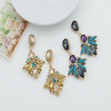 Hot 2 Colors Crystal Leaf Drop Geometry Flower Dangle Statement Stud Earring New