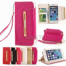 Glossy Bling PU Leather Flip Clutch Handbag Wallet Case Cover For iPhone Samsung