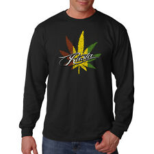 Rasta Flag Pot Leaf Marijuana Weed 420 Cannabis Funny Long Sleeve T-Shirt Tee