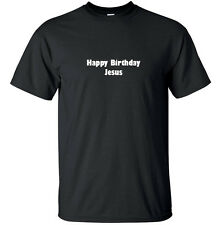 Happy Birthday Jesus - Christmas T-Shirt Adult Black White Custom