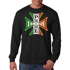Irish Pride Ireland Flag Iron Cross Motorcycle Biker Long Sleeve T-Shirt Tee