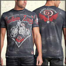 Affliction AC Twist Indian Larry A6122 Moto Men's New Short Sleeve T-Shirt Black