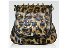 Galian Rachel Leopard Print Clutch Studded Spiked Messenger Vegan Cross-Body Bag
