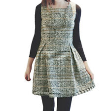 Women Round Neck Sleeveless Plaids Unlined Casual Worsted Dress
