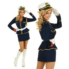 Adult 1950s Pin Up Girl Sailor Costume 50s Navy Officer Fancy Dress Party Outfit