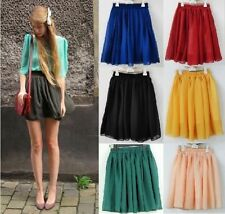 New Vintage Women Girl High Waist Pleated Double layer Chiffon Short Mini Skirt