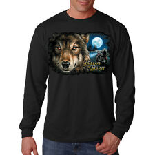Follow The Spirit Animal Wolf Motorcycle Biker Chopper Long Sleeve T-Shirt Tee