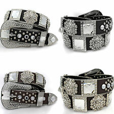 1456 Western Rhinestone Stud Concho Belt Cowgirl Bling Leather Belt Womens Belt