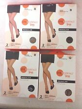LEGGS REGULAR PANTYHOSE SIZES B & Q NUDE~JET BLACK~SUNTAN  LOT OF 2 BOXES~4 PAIR