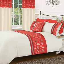 RED CREAM STYLISH FLORAL DIAMANTE FAUX SILK DUVET COVER LUXURY BEAUTIFUL BEDDING