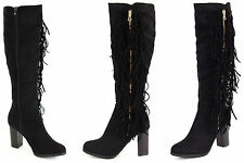 Ladies Knee High Boots Suede Leather Fringed Frill Tassel Block High Heel Shoes