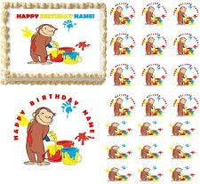 Curious George with Paints Edible Cake Topper Image Frosting Sheet - All Sizes!