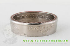 COIN RING - MARYLAND HANDMADE IN USA FROM GENUINE US QUARTER! WINKING WASHINGTON