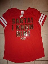 "VICTORIAS SECRET PINK BLING SEQUIN ""SANTA! I KNOW HIM"" SCOOPNECK TEESHIRT NWT"