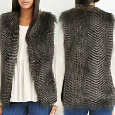 Hot Women Faux Fur Vest Sleeveless Long Hair Waistcoat Gilet Coat Jacket Outwear