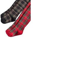NWT Ralph Lauren Baby Girls' Holiday Plaid Tights Red or Black 6-12 M 18-24 M