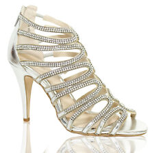 LADIES WOMENS PARTY SILVER BRIDAL DIAMANTE EVENING HIGH HEELS SHOES SANDALS SIZE