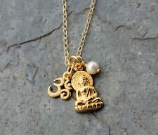 Zen Gold Buddha and Om Charm Necklace- White Pearl or Birthstone Crystal