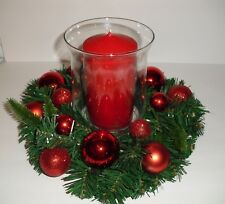 Christmas Holiday Centerpiece arrangement Lg. glass candle holder w/Candle NEW
