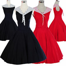 New Polka dot 1940's 50's Vintage style Red Black Rockabilly Party Prom Dress