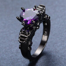 9mm Purple Amethyst Promise Ring Sz 5-10 Womens Goth Wing 10KT Black Gold Filled