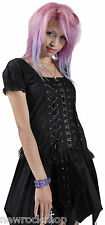 NEW DEAD THREADS LADIES TOP BLACK COTTON PUNK EMO ROCK