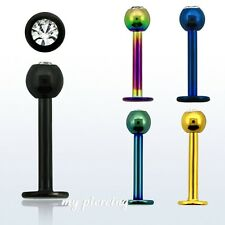 "1pc. 16g~1/4"", 5/16"", 3/8"" Anodized 316L Steel 3mm CZ ball Labret Monroe Tragus"