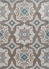 Contemporary Transitional Modern Taupe Gray Blue Area Rug
