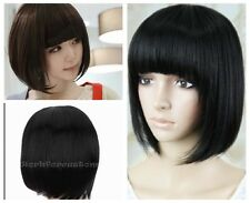 Lady girl Neat Bangs Short Straight Wig BOBO Cosplay Party Full Wigs + Cap Gift