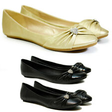 NEW WOMENS FLAT PUMPS GIRLS GOLD BOW BALLET BALLERINA DOLLY BRIDAL SHOES SIZES