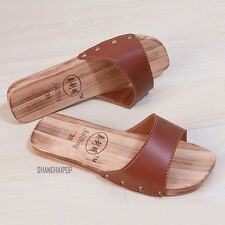 Unisex Faux Leather Wooden Flip Flop Shoe Casual Geta Clog Slippers Sandal Brown