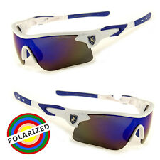 New Polarized Mirror Lens Mens Fishing WHITE Baseball Sport Wrap Sunglass f