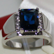 Mens Oblong Blue Sapphire with CZ Stone Eternity Stainless Steel Ring Size 9-11