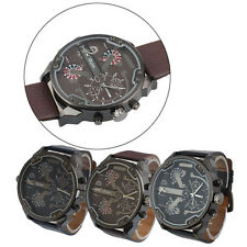 Oulm Luxury Military Army Leather Dual Time Quartz Large Dial Sport Wrist Watch