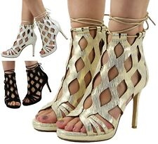 WOMENS STRAPPY LACE UP CUTOUT PARTY LADIES HIGH STILETTO HEEL SHOES SANDALS SIZE