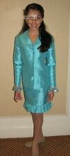 Turquoise Stock Kids Girl's pageant Girls interview suit dress Jacket Skirt Set