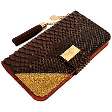 Luxury Snake Skin PU Leather Flip Wallet Purse Case BROWN for Smartphone Samsung