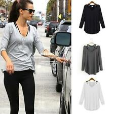 New Women's Loose Cotton V-Neck Long Sleeve T-Shirt Casual Blouse Tops S-XL