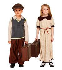 Children Evacuee Costume Boys Girls 1940s Fancy Dress Orphan Complete Outfit