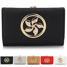 New Trifold Ladies Wallet Faux Leather Women Girl Purse Bobble Clasp Card Slots