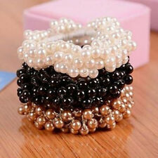 Charming Women Pearl Beads Hair Band Rope Scrunchie Ponytail Holder Korean Style