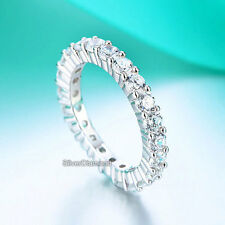 Fine 925 Sterling Silver Eternity Ring Wedding Band Simulated Diamond