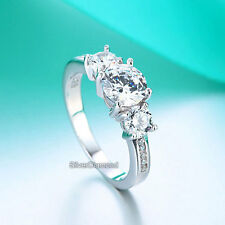 925 Sterling Silver Three Stone Wedding Engagement Ring Simulated Diamond