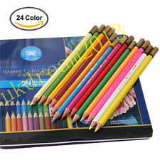 12/24/36PCS Watercolor colored Drawing Pencils Writing Sketching Tin Stationery