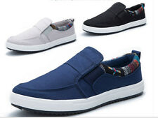 Men's Fashion Canvas Round Toe Slip On Flat Casual Leisure Driving Loafers Shoes