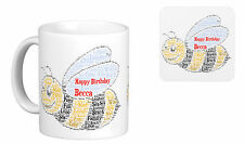 Personalised Mug, Word Art Bee, Birthday gift, your own words